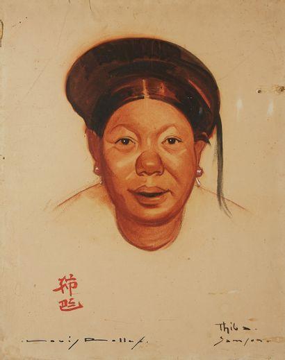 INDOCHINE Portrait de femme au châpeau Dessin signé et annoté.