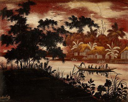 VIETNAM Plaque rectangulaire en laque peinte représentant un paysage fluvial avec...