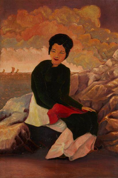 INDOCHINE Femme assise sur un rocher Huile sur toile