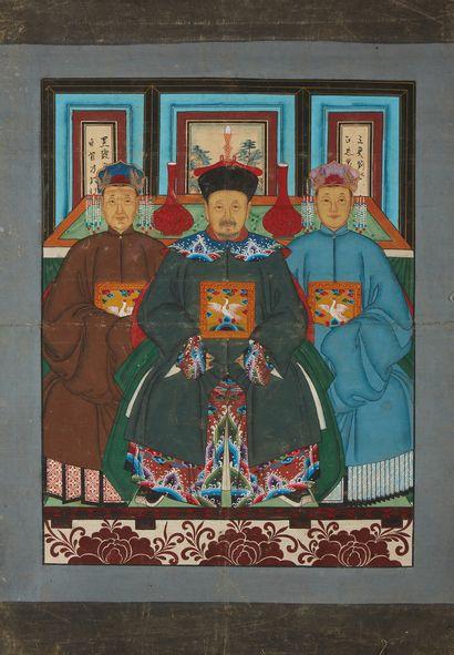 CHINE Portrait de trois dignitaires. Peinture sur tissu. Dim.: 80 x 67cm