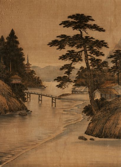 INDOCHINE Paysage lacustre Deux peintures sur tissu