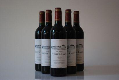 Six bouteilles de Château Pontet Canet 1996,...