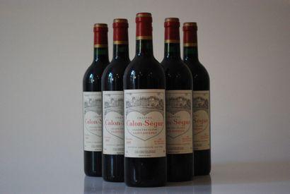 Six bouteilles de Château Calon Segur 1995,...