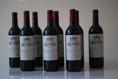 Huit bouteilles de Château Léoville Las Cases...