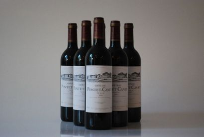 Six bouteilles de Château Pontet-Canet 2000,...