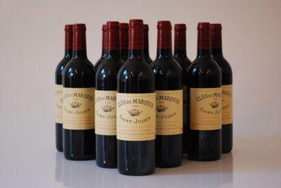Douze bouteilles de Clos du Marquis 1995,...