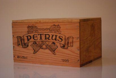 Une caisse de six bouteilles de Petrus 1995,...