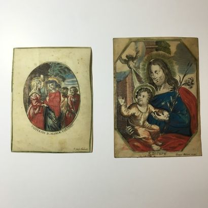 S. Ioseph Gravure sur vélin coloriée d'époque...