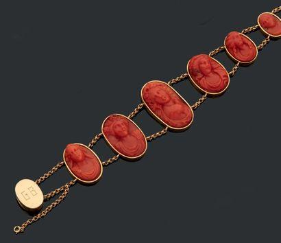 Bracelet à monture en or (18k) orné de six...