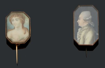 Ensemble de deux miniatures sur ivoire. Une...