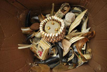 Ensemble d'objets en coquillage et en corne....