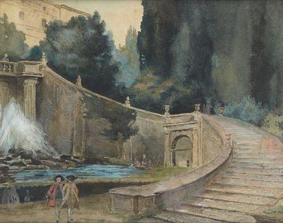 Ecole française du XIXe siècle  Aquarelle...