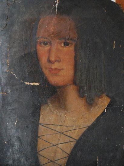 Huile sur toile portrait de femme XVIIe
