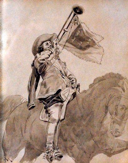 Ecole française du XIXème siècle.  Cavalier...