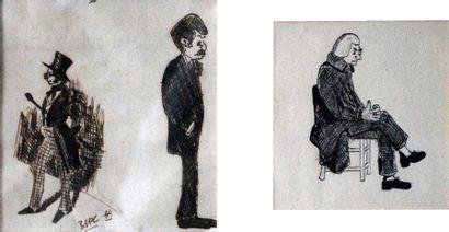 Portraits d'hommes.  Dessins au crayon signé...