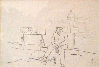 Marin à quai.  Dessin au crayon gris signé...