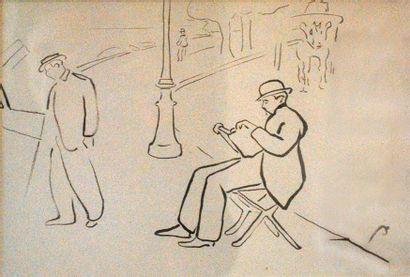 Homme lisant sur un banc.  Dessin au crayon...