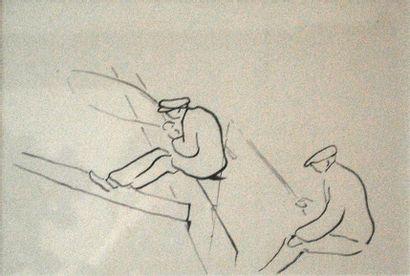 Deux pêcheurs.  Dessin au crayon gris non...