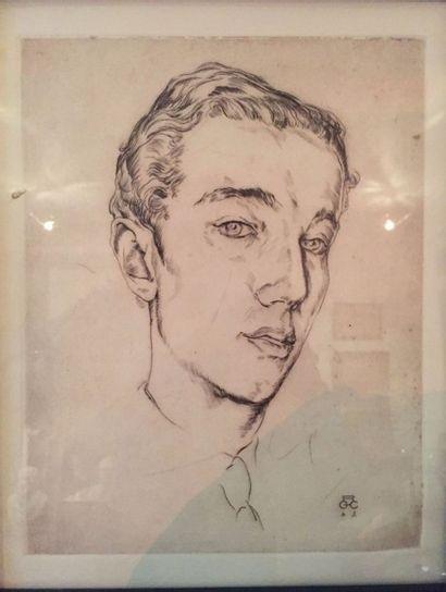 Gravure représentant un portrait un portrait...