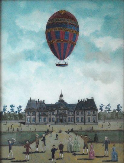 Château de Cheverny et montgolfière.  Sous-verre....