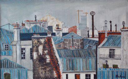 FLECHEAU.  Les toits de Paris.  Huile sur...