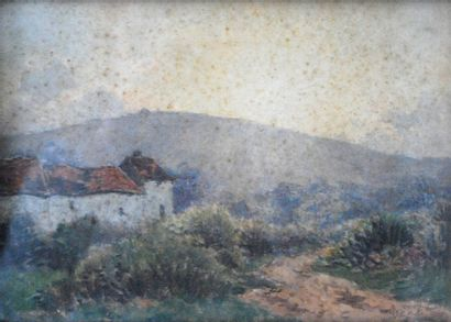 Paul ROUX  Vue de village des yvelines (Clairefontaine)...