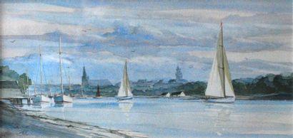 Les voiliers à Vannes.  Aquarelle signée...
