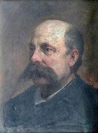 Huile sur toile figurant un homme à la moustache...