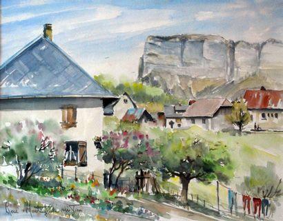 Aquarelle représentant une scène de village...