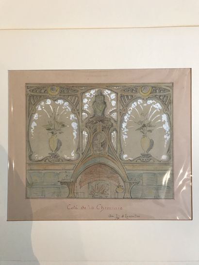 Ensemble de douze dessins aquarellés préparatoires figurant des éléments architecturaux...