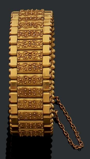 Bracelet manchette en or jaune 18K (750)...
