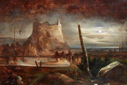 Jean Antoine Théodore GUDIN (1802-1880) Paysage imaginaire nocturne, 1837 Huile sur...