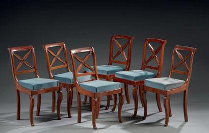 Six chaises de salle à manger en acajou à...