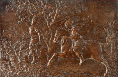 Plaque en bronze à patine brune figurant...