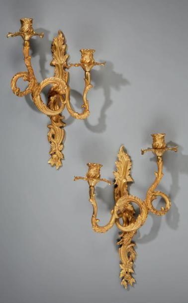 Paire appliques en bronze doré et ciselé...