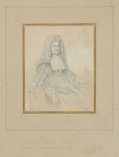D'après Nicolas HABERT (vers 1650?) Paire de dessins figurant des portraits: Edouard...