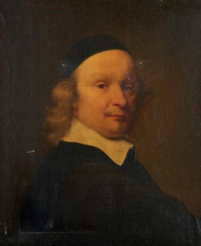 École FRANÇAISE du XVIIIe siècle Portrait d'homme à la calotte. Huile sur toile....