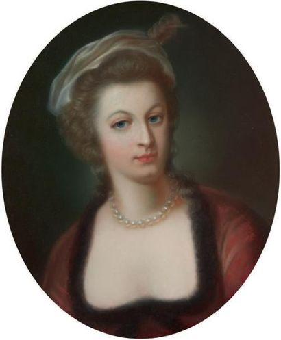 École Française du XIXe siècle Portrait ovale figurant Marie-Antoinette. Pastel sur...
