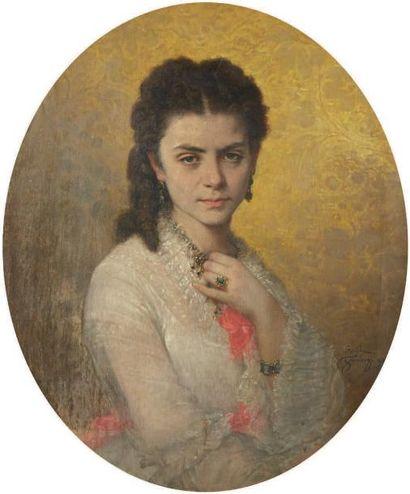 Emile GAMBOGI (Naples 1819-1895) Paire d'huiles sur toile ovales signées figurant...
