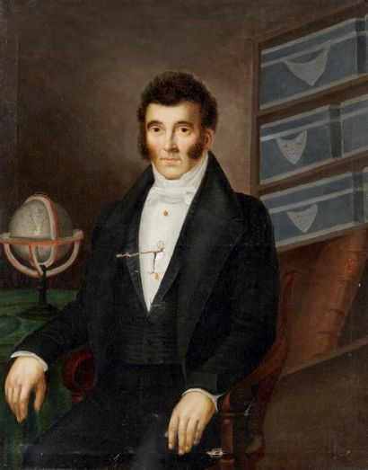 École FRANÇAISE du début du XIXe siècle Huile sur toile figurant un portrait de géographe....