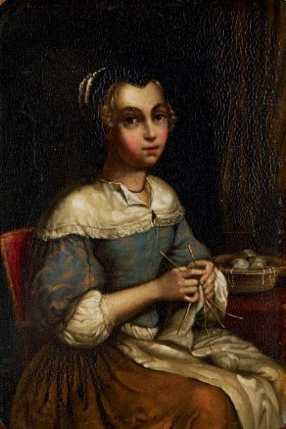 Deux couvercles de tabatière peint de deux miniatures d'après TENIERS Epoque XIXe...