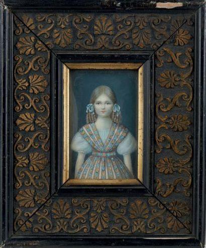 Miniature rectangulaire figurant le portrait...