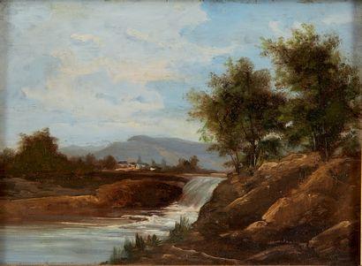 École du XIXe siècle Huile sur panneau figurant un paysage à la cascade. Dans un...