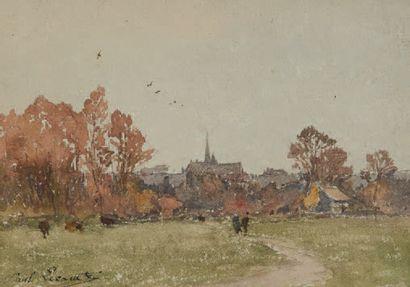 Paul LECOMTE (1842-1920) Paire de petites aquarelles figurant des paysages animés....