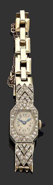 Montre bracelet de dame mécanique en or gris...
