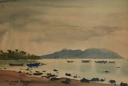 BAYLE Luc Marie (1914 - 2000) Plage à Tahiti, Faaa Aquarelle signée et située en...