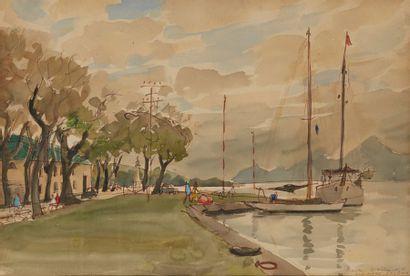 BAYLE Luc Marie (1914 - 2000) La Marina, Papeete, 1956 Aquarelle signée, située et...