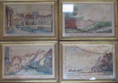 Ecole française du XIXème siècle.  Vues d'Abbeville....
