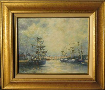 Paul BOUTRY (Né en 1936).  Bateaux à quai....
