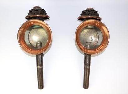 Paire de lanternes de fiacre en cuivre et...